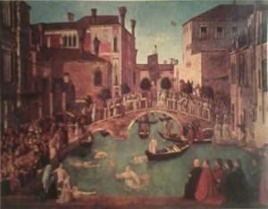 Gentile Bellini'nin Kutsal Haçın Mucizesi adlı tablosu.